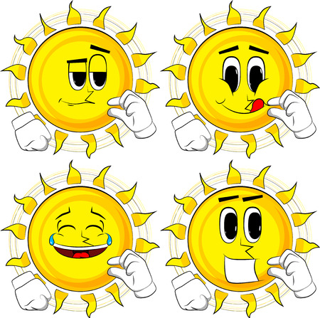 Cartoon sun gesturing a small amount with hand. Collection with happy faces. Expressions vector set.