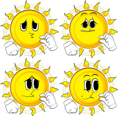 Cartoon sun gesturing a small amount with hand. Collection with sad faces. Expressions vector set.