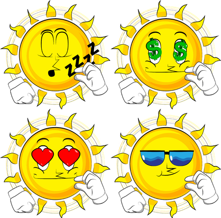 Cartoon sun gesturing a small amount with hand. Collection with various facial expressions. Vector set. Illustration