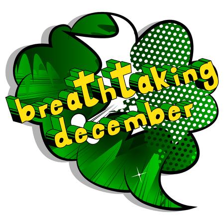 息をのむよう 12 月 - コミック スタイル word の抽象的な背景。  イラスト・ベクター素材