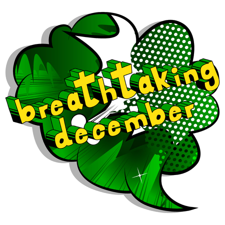 Breathtaking December - Comic book style word on abstract background.