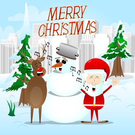 Santa Claus, reindeer and snowman caroling in a winter scene. Vector cartoon character illustration.