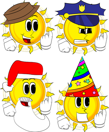 Cartoon sun inviting to come there. Collection with costume. Expressions vector set.
