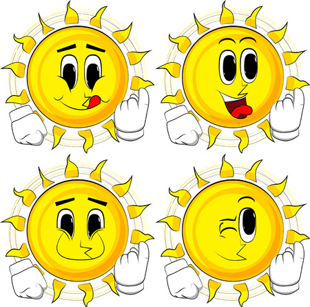 Cartoon sun inviting to come there. Collection with happy faces. Expressions vector set.