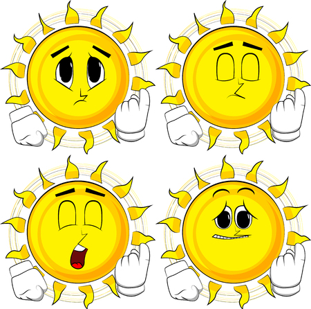Cartoon sun inviting to come there. Collection with sad faces. Expressions vector set. Ilustração