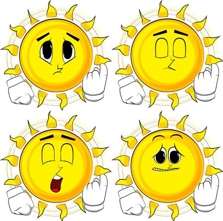 Cartoon zon uitnodigend om daar te komen. Collectie met droevige gezichten. Uitdrukkingen vector set. Stock Illustratie