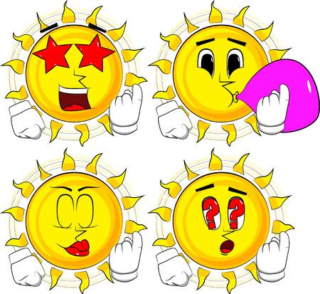 Cartoon zon uitnodigend om daar te komen. Collectie met verschillende gezichtsuitdrukkingen. Vector set Stockfoto - 90919647