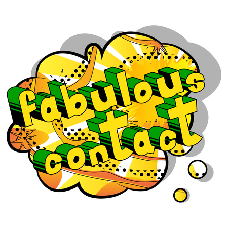 Fabulous Contact - Comic book style word on abstract background. Ilustração