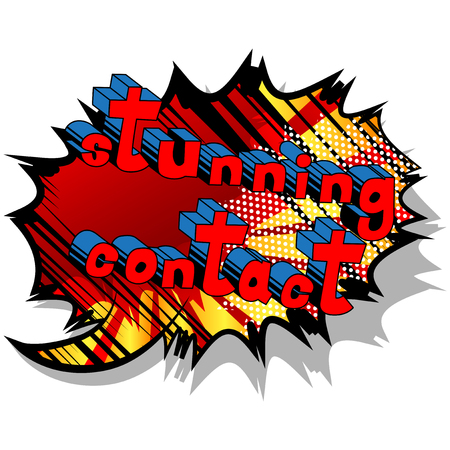 Stunning Contact - Comic book style word on abstract background. Çizim