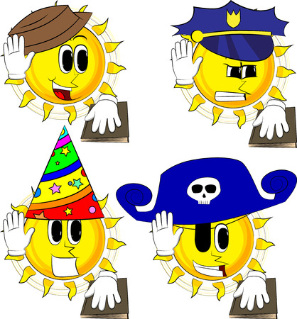 Cartoon sun raising his hand and put the other on a holy book. Taking oath or swearing. Collection with costume. Expressions vector set. 向量圖像