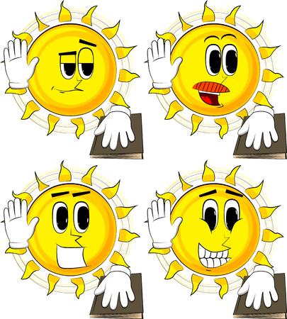 Karikatursonne, die seine Hand anhebt und die andere auf eine Heilige Schrift setzt. Eid ablegen oder fluchen. Sammlung mit glücklichen Gesichtern. Expressions Vektor festgelegt. Standard-Bild - 91016087