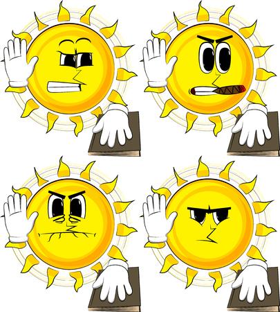 Il sole del fumetto alza la mano e mette l'altro su un libro sacro. Prendendo giuramento o parolacce. Collezione con facce arrabbiate. Insieme di vettore di espressioni. Archivio Fotografico - 91016086