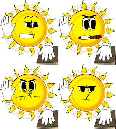Cartoon sun raising his hand and put the other on a holy book. Taking oath or swearing. Collection with angry faces. Expressions vector set.