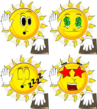 만화 태양 그의 손을 올리고 거룩한 책에 다른 넣어. 맹세 또는 맹세하기. 다양 한 얼굴 표정으로 컬렉션입니다. 벡터 설정입니다. 스톡 콘텐츠 - 91016364