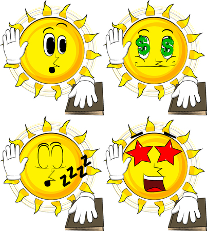 Cartoon sun raising his hand and put the other on a holy book. Taking oath or swearing. Collection with various facial expressions. Vector set. Illustration