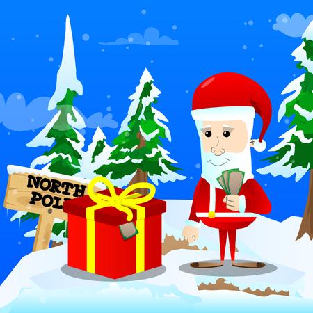 Santa Claus preparing to give a box of money for Christmas. Vector cartoon character illustration.