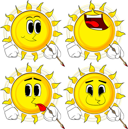 Cartoon artist sun painting. Collection with happy faces. Expressions vector set. Illustration