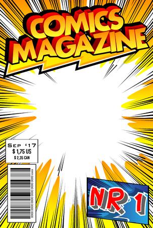 Bewerkbare stripboekomslag met abstract ontwerp.