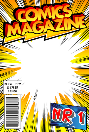 Editable comic book cover with abstract design.