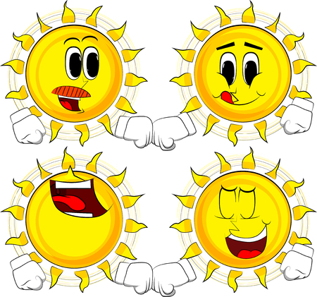 Cartoon sun giving a fist bump. Collection with happy faces. Expressions vector set. Stock Illustratie