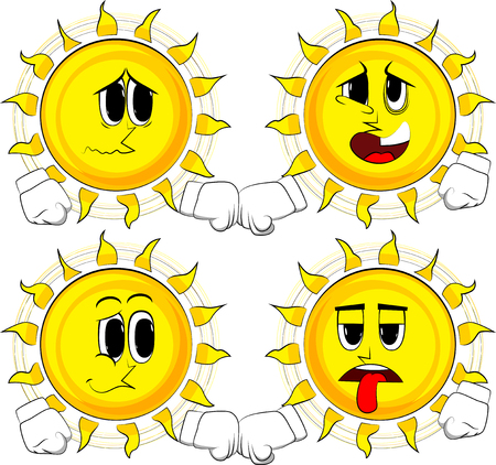 Cartoon sun giving a fist bump. Collection with sad faces. Expressions vector set.