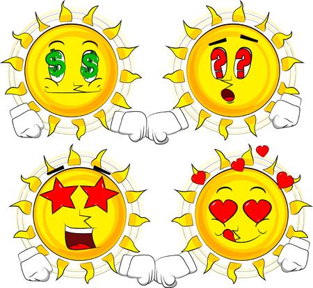 Cartoon sun giving a fist bump. Collection with various facial expressions. Vector set.