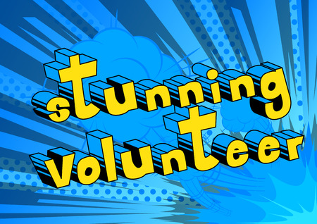 Stunning Volunteer comic book style word on abstract background.