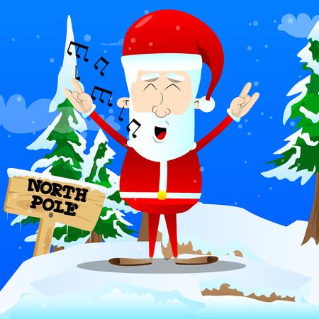 Santa Claus singing with hands in rocker pose. Vector cartoon character illustration. Stock Vector - 91245776