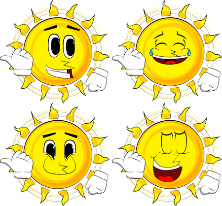 Cartoon sun with pointing hand behind his back. Collection with happy faces. Expressions vector set.
