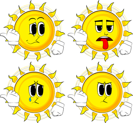 Cartoon sun with pointing hand behind his back. Collection with sad faces. Expressions vector set.