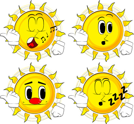 Cartoon sun with pointing hand behind his back. Collection with various facial expressions. Vector set.