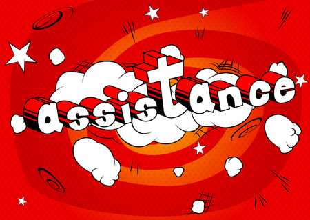 Assistance - Comic book style word on abstract background. Фото со стока - 91327983
