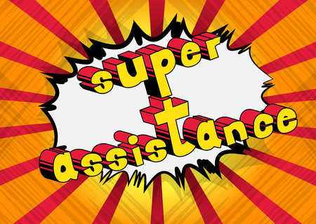 Super Assistance - Comic book style word on abstract background. Иллюстрация