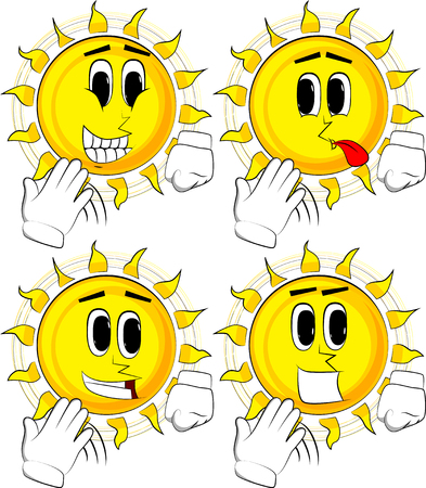 Cartoon sun cooling himself with his hand. Collection with happy faces Expressions vector set.