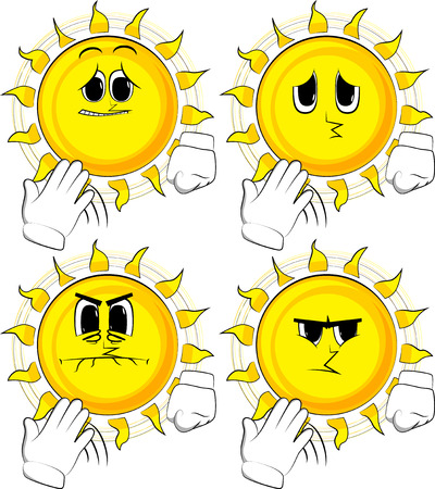 Cartoon sun cooling himself with his hand. Collection with sad faces Expressions vector set. Illustration