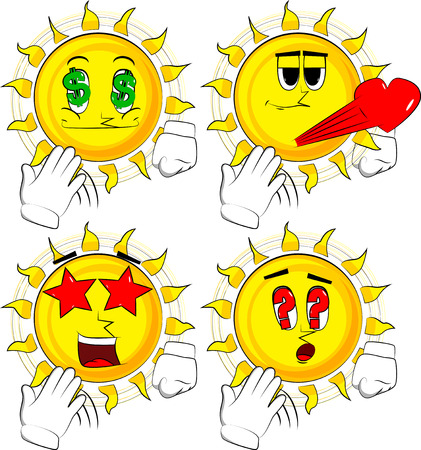 Cartoon sun cooling himself with his hand. Collection with various facial expressions Vector set.
