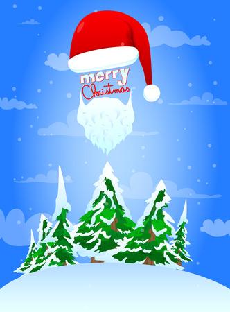 Cartoon Santa hat greeting card, vector illustration.