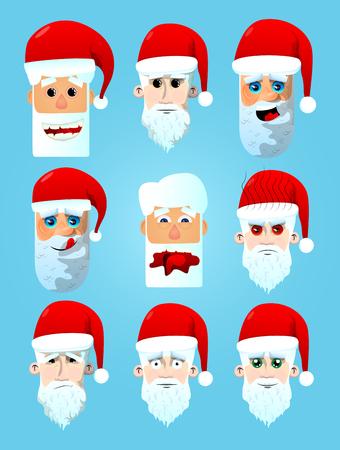 Santa Claus head icon set. Vector cartoon character illustration. Illustration