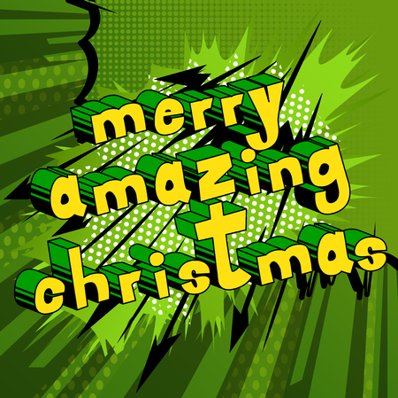 Merry Amazing Christmas - Comic book style word on abstract background. Illustration