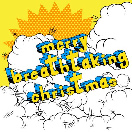 息をのむのメリー クリスマス - コミック スタイル word の抽象的な背景。  イラスト・ベクター素材