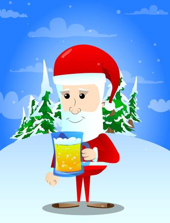 Santa Claus holding a mug of beer. Vector cartoon character illustration.