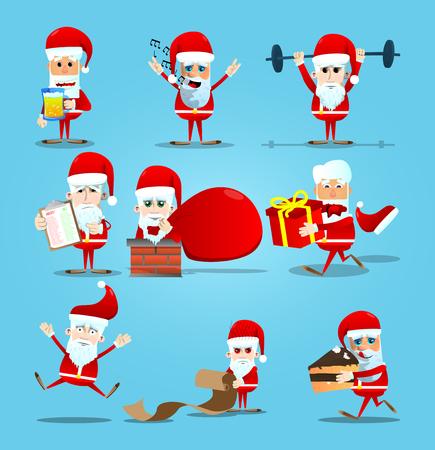クリスマス サンタ クロースのセットです。ベクトル漫画のキャラ イラスト。  イラスト・ベクター素材