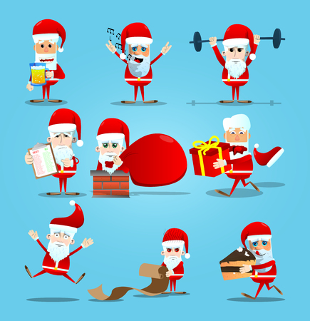 Set of Christmas Santa Claus. Vector cartoon character illustration.