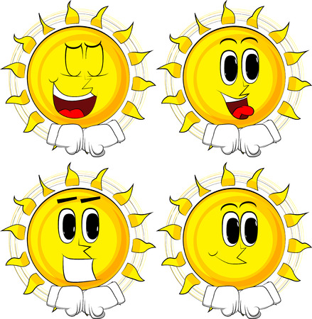 Cartoon sun hitting fists together before a fight. Collection with happy faces. Expressions vector set.