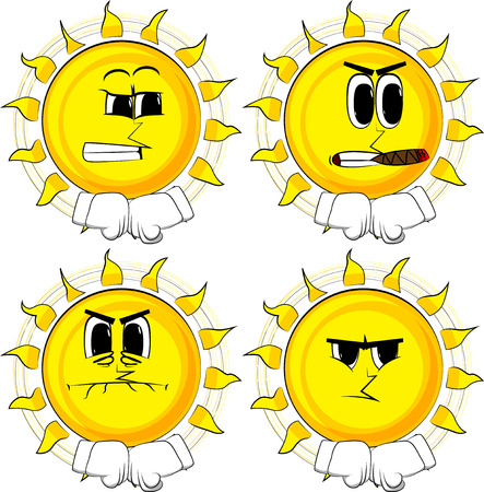 Cartoon sun hitting fists together before a fight. Collection with angry faces. Expressions vector set.