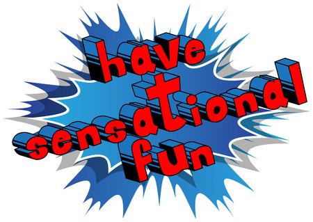 센세이션 재미 - 추상적 인 배경에 만화 책 스타일 단어.