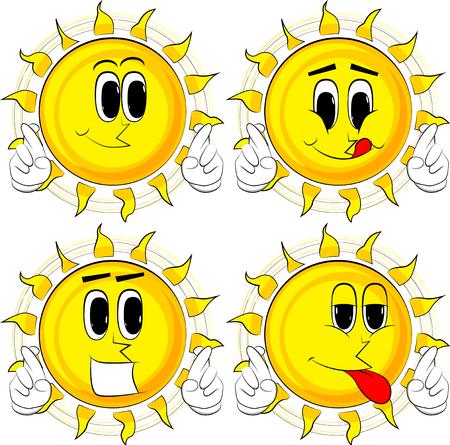 漫画の太陽は、彼の指を横切って、幸運を願っています。幸せな顔をしたコレクション。式ベクトル セット。