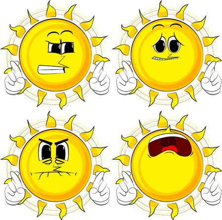 漫画の太陽は、彼の指を横切って、幸運を願っています。悲しい顔をしたコレクション。式ベクトル セット。 写真素材 - 91431634