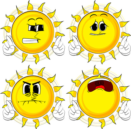 Cartoon sun crossing his fingers and wishing for good luck. Collection with sad faces. Expressions vector set.