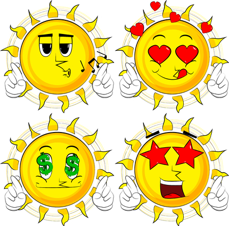 Cartoon sun crossing his fingers and wishing for good luck. Collection with various facial expressions. Vector set.